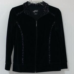 Style & Co Black Velour Jacket with Animal Print